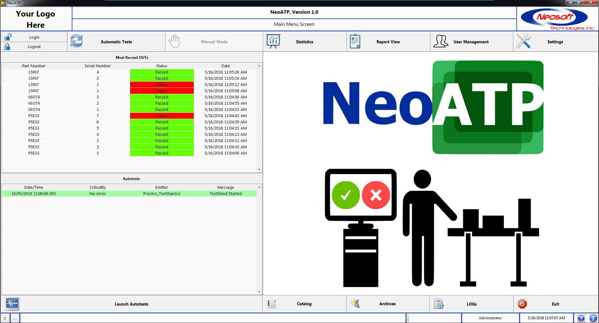 NeoATP Main Menu Platform Test UUT