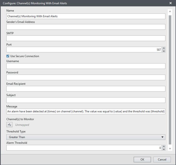 FlexLogger Email Alert settings